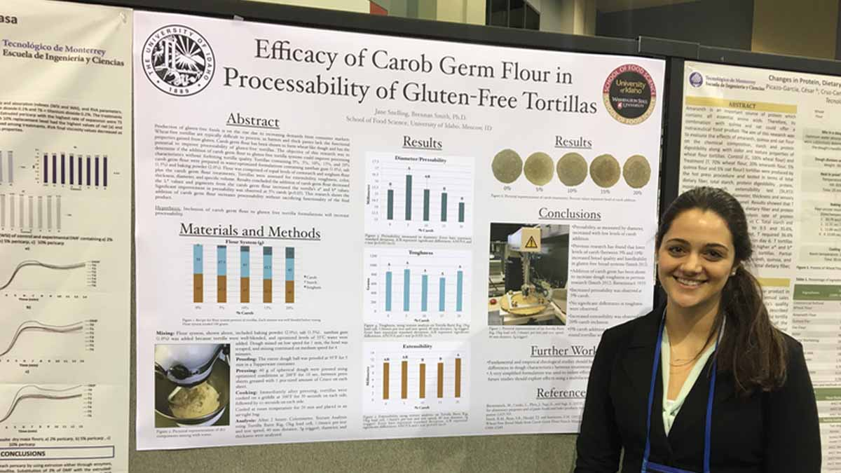 Jane Snelling, a senior in the UI/WSU School of Food Science, received funding for travel expenses to the national American Association of Cereal Chemistry International conference in Savannah, Georgia. She presented a poster: Efficacy of Carob Germ Flour in Processability of Gluten-Free Tortillas.