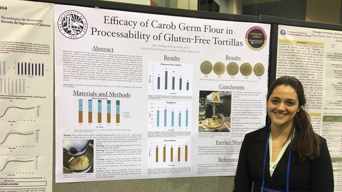 Jane Snelling, a senior in the U of I/WSU School of Food Science, received funding for travel expenses to the national American Association of Cereal Chemistry International conference in Savannah, Georgia. She presented a poster: Efficacy of Carob Germ Flour in Processability of Gluten-Free Tortillas.