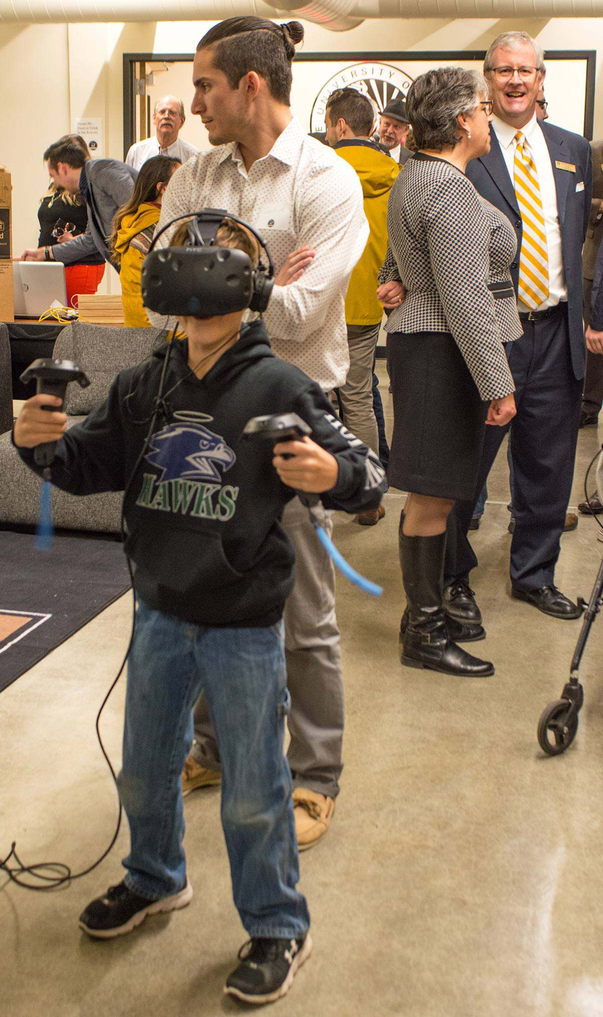Boy in virtual reality goggles