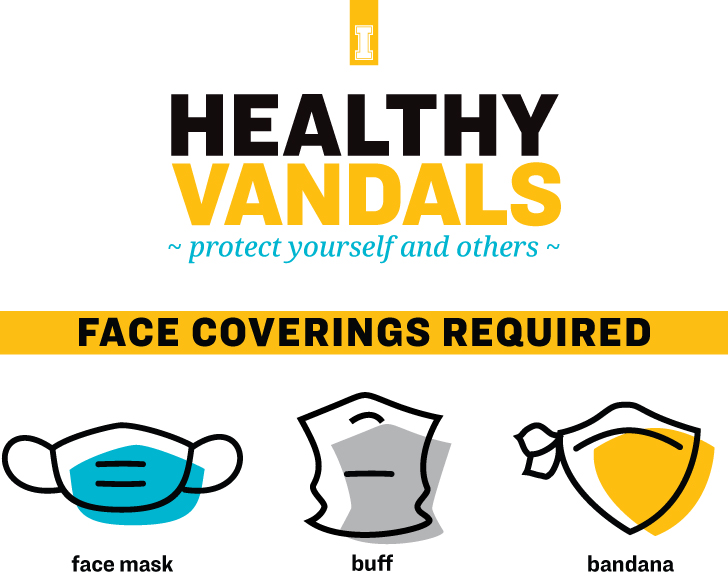Healthy Vandals protect yourself and others: Face Coverings Required; face mask, buff, bandana
