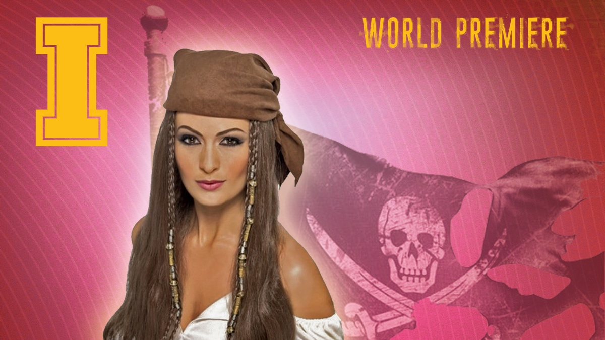A female pirate on a stylized background.