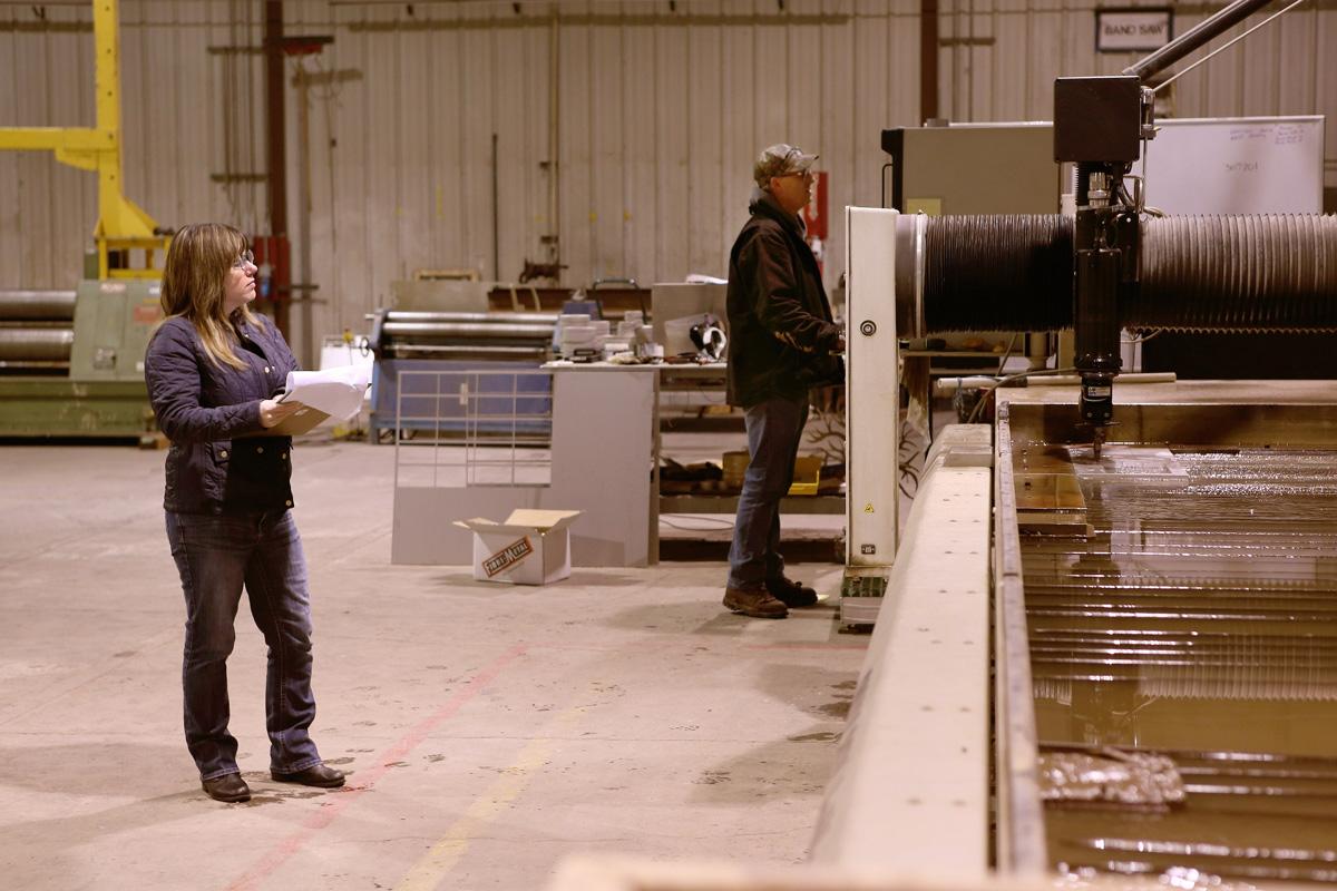 Rebecca McClellan manages production in the workshop at Diversified Metal Products in Idaho Falls.