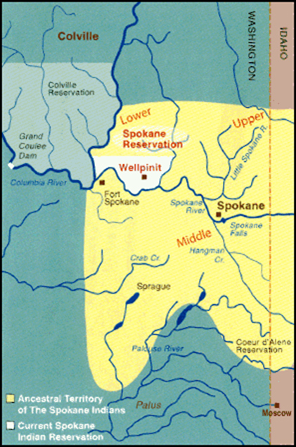 Reservation Map of Spokane Tribe