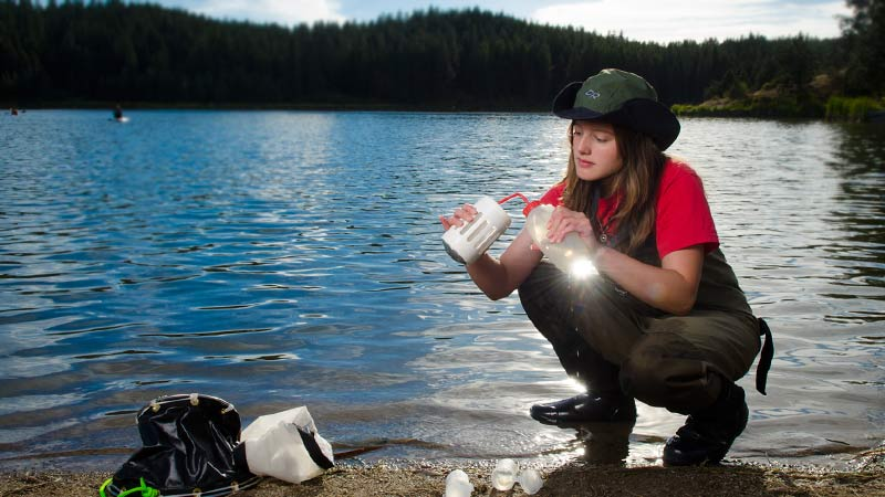 Ecology and conservation biology student taking water samples. Earn a conservation biology degree at the University of Idaho.