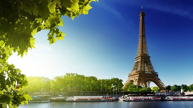 The Eiffel Tower in France overlooks the Siene River is a French icon.