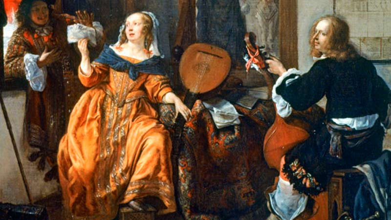 Dutch painting of people playing music