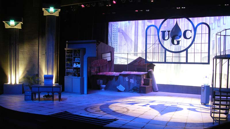 The scenic design for Urinetown