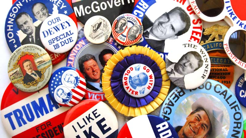 A collection of political campaign buttons