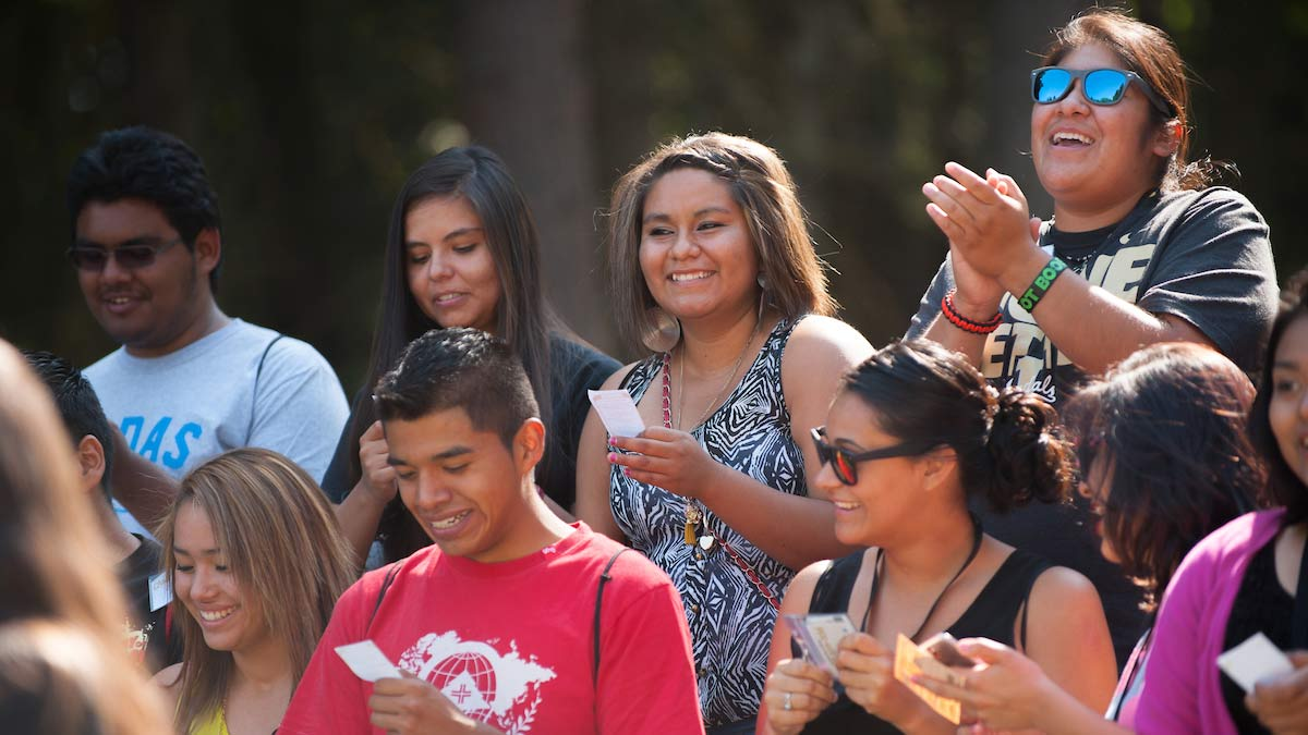 Multicultural students attend a barbecue