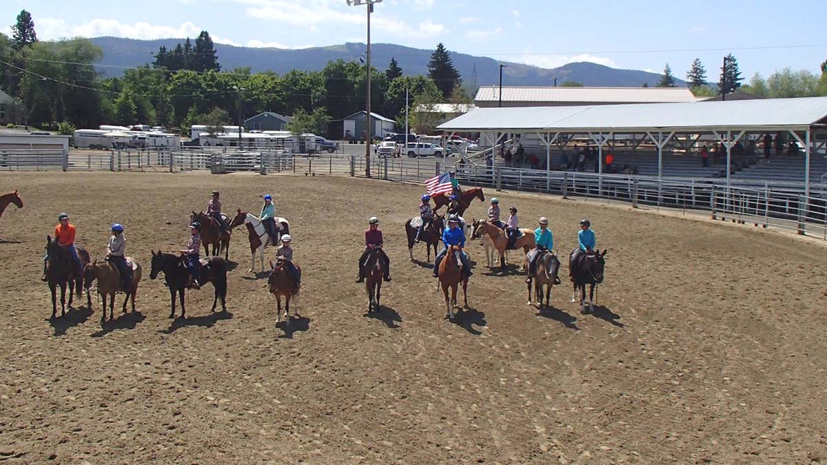 Youth showing their riding skills at the fair grounds