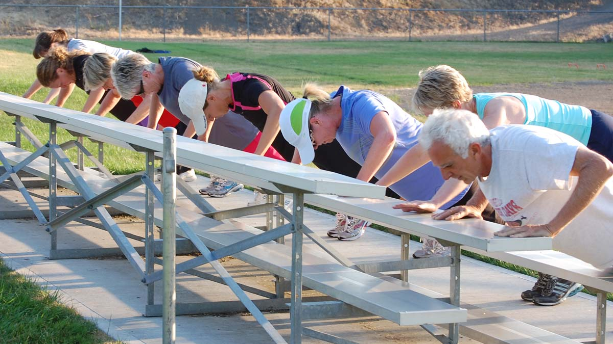 doing push up on bleachers