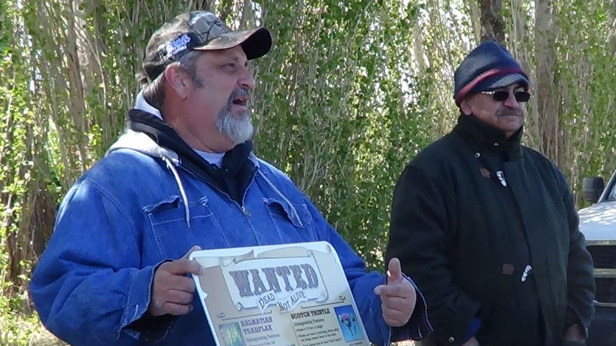 "Two men stand outdoors. One gestures at a poster saying ""Wanted: Dead Not Alive"" with pictures and names of different plants on it."