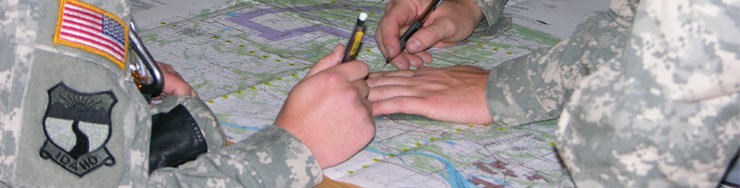 Cadets working with maps
