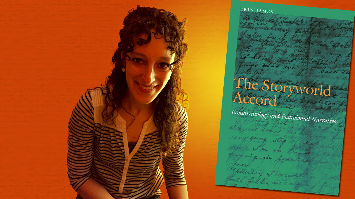 Erin James and the cover of her book.