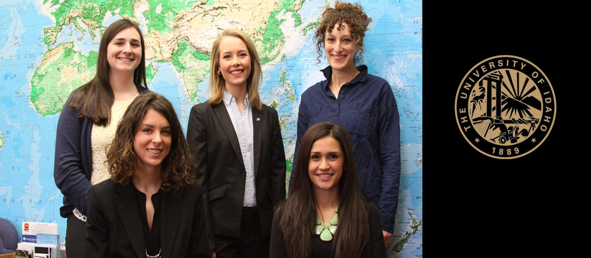 The 2015 Martin Scholars: Professor Erin James, Emily Greene, Celina Hernandez, Karlee Kirking and Alysha Van Zante