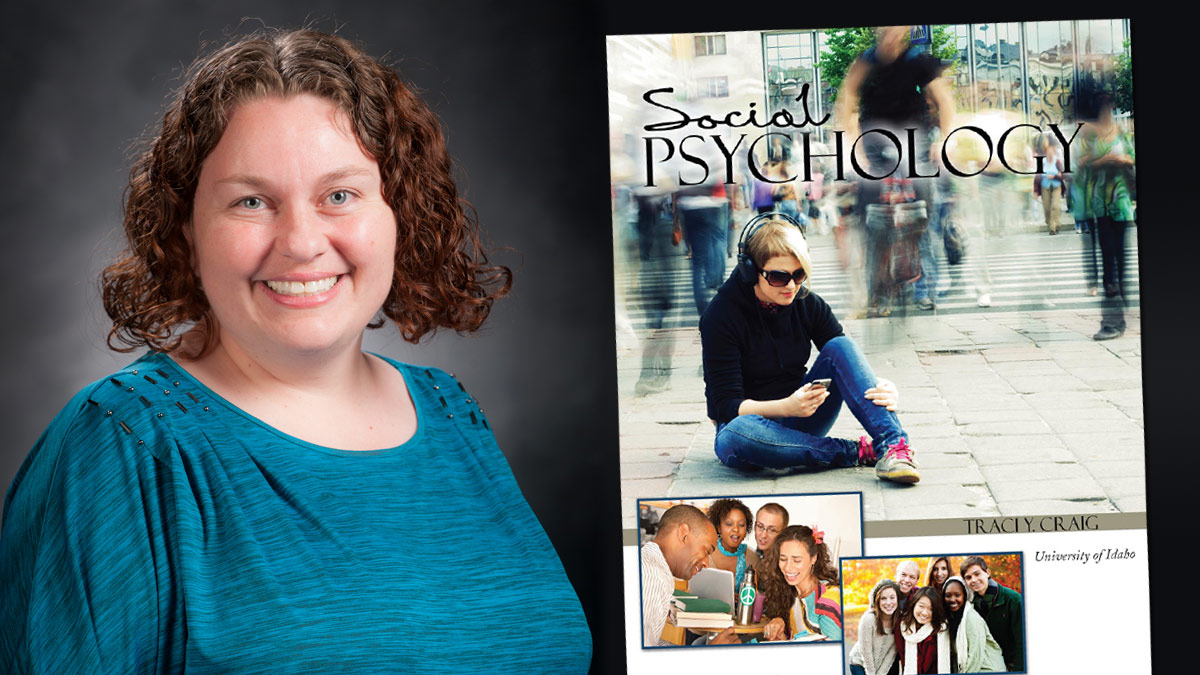"Traci Craig with her book ""Social Psychology."""