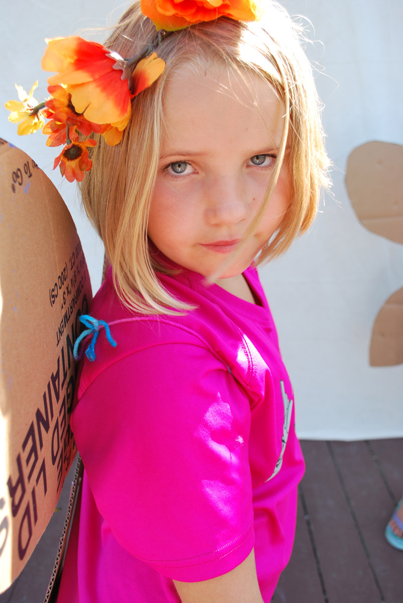 A child in costume with cardboard wings.