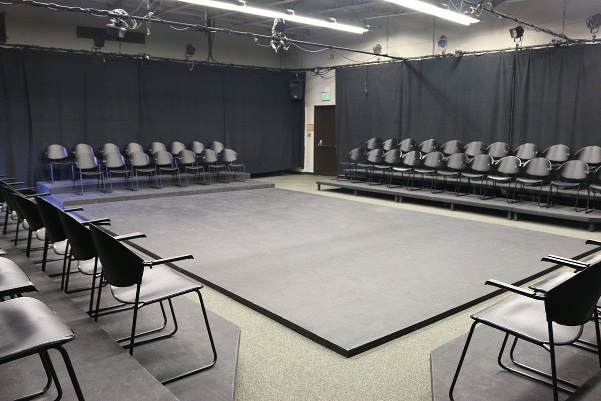 The theatre seating and performance space for the Forge Theatre.