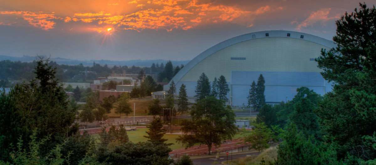 UI's Kibbie Dome during a colorful sunset.