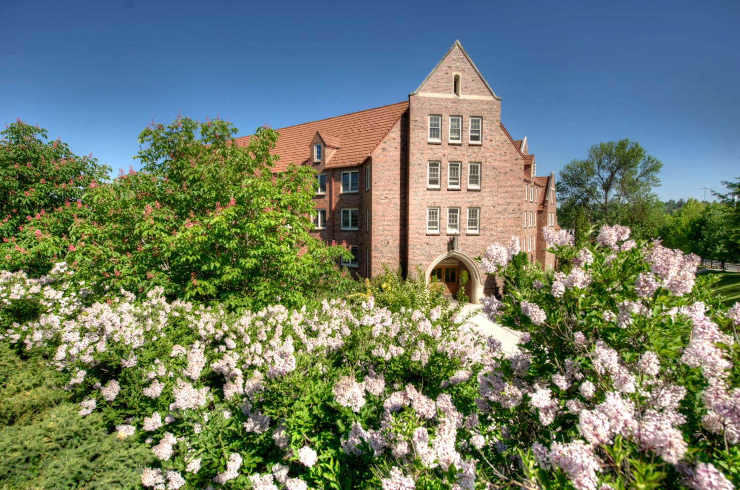 Brink Hall during springtime