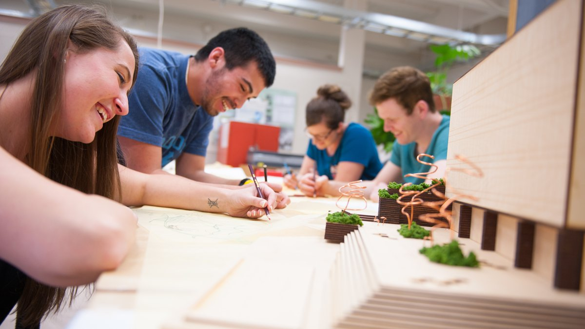 Landscape Architecture students work in classroom during open studio College of Art and Architecture.
