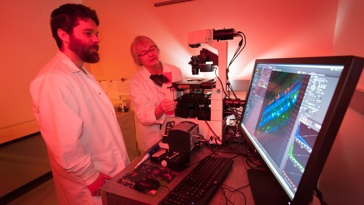 Timothy McGinn & Ann Norton demonstrate the new imaging core microscope.
