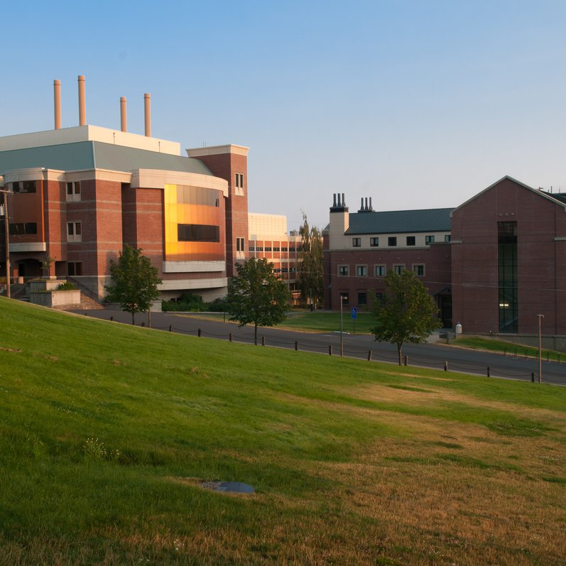 Engineering and Physics buildings on the UI campus.